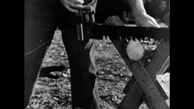 farmers manually sawing and chopping wood / log falls to the ground cutting wood on the farm on january 01 1940 in warnock ohio - sawing stock videos & royalty-free footage