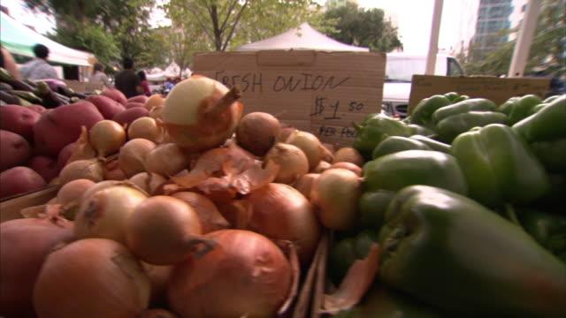 a farmer's market displays a variety of produce. - farmer's market stock videos & royalty-free footage