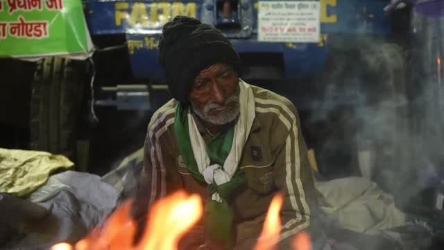 farmers on a blocked highway during a protest against the central government's recent agricultural reforms, at ghazipur border , delhi on 28 december... - farmer stock videos & royalty-free footage