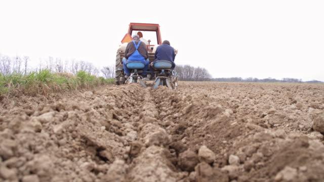 vidéos et rushes de agriculteurs de semer de pommes de terre sur le terrain - pomme de terre rouge