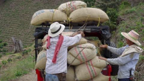 vídeos y material grabado en eventos de stock de agricultores atar los sacos de café para el coche - cosechar