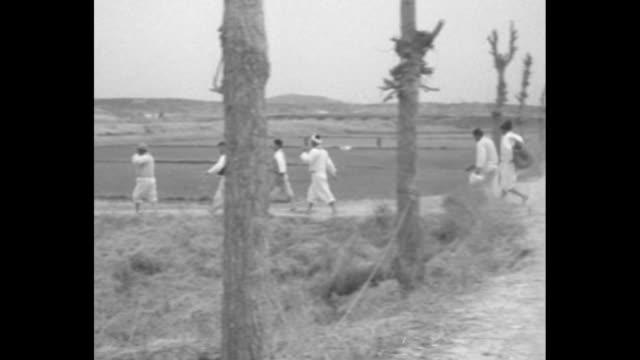 Farmers walking across road and along path through field / two shots of farmers walking along path through field / two North Korean Communist...