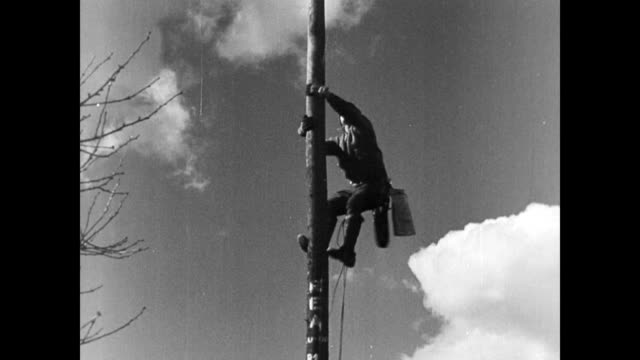 Farmers work together to erect a pole for electricity pylon / farmer climbs to top of pylon / farmers pass the transformer up to the top of the pylon...