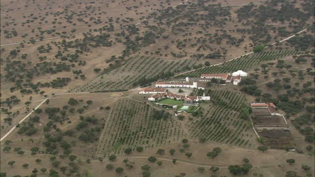 AERIAL WS Farmhouse in countryside / Evora, Portugal