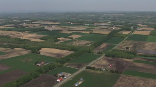 aerial, farming region in tokachi, hokkaido, japan - 平地点の映像素材/bロール