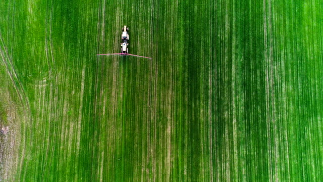 Farming. Top View of Agricultural tractor spraying field.
