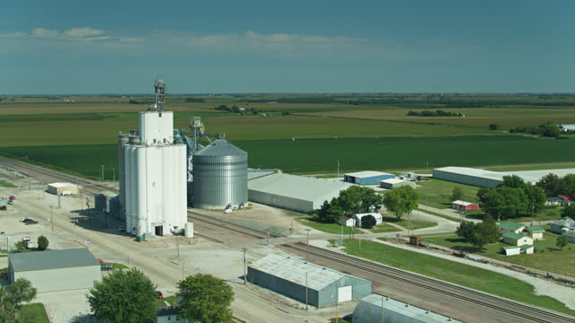 farming town in nebraska - aerial - town stock videos & royalty-free footage