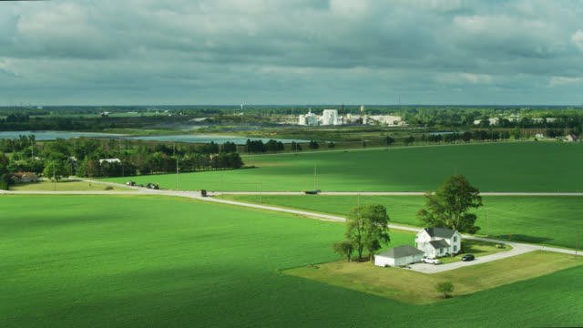 farmland and lime quarry in genoa, ohio - citrus fruit stock videos & royalty-free footage