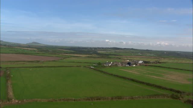 stockvideo's en b-roll-footage met aerial, farmland and st david's, pembrokeshire, wales - pembrokeshire