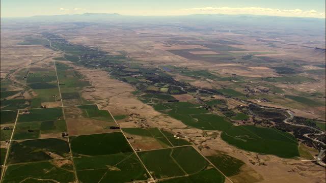 farmland around sun river  - aerial view - montana, lewis and clark county, united states - kansas stock videos & royalty-free footage