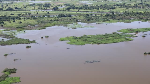 farmland buried under flood debris, and still flooded land in the shire river valley, malawi.. - malawi stock videos & royalty-free footage
