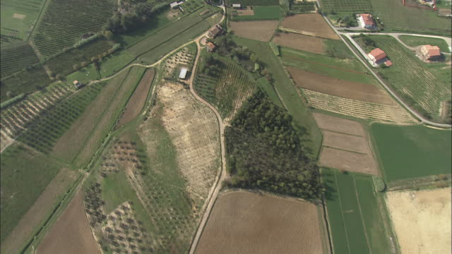 farmland creates a patchwork of acres between pisa and prato in northern italy. - prato stock videos and b-roll footage