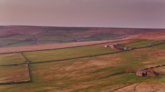 farmland in yorkshire pennines at sunset - drone shot - pennines stock videos and b-roll footage