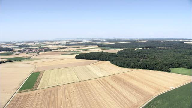 Farmland near Creglingen - Aerial View - Baden-Württemberg,  Regierungsbezirk Stuttgart,  Main-Tauber-Kreis helicopter filming,  aerial video,  cineflex,  establishing shot,  Germany