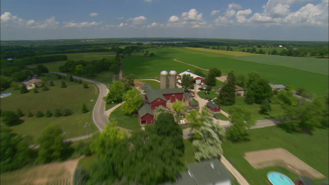 AERIAL Farmland, Waukesha, Wisconsin, USA