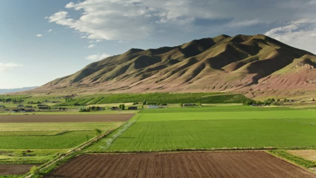 Farms and Mountains in Utah - Drone Shot