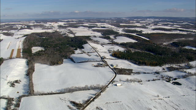 Farms In Snowy Landscape - Aerial View - New York,  Herkimer County,  United States