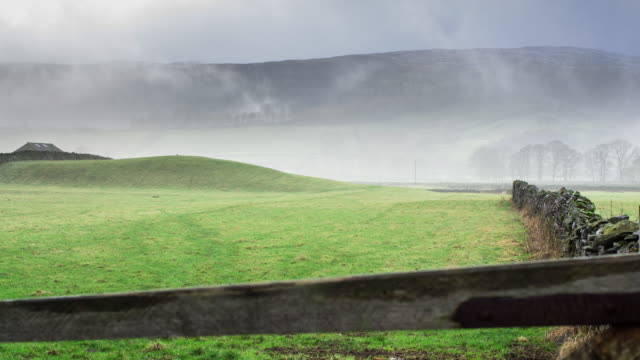 farms in the fog, yorkshire dales - film stock videos & royalty-free footage