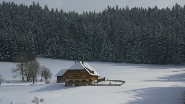 Farnhouse near Bretnau in winter, South Black Forest, Schwarzwald, Baden-Wurttemberg, Germany, Europe
