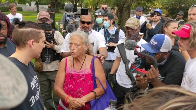 far-right and counter protesters clash during a rally on september 7, 2020 in salem, oregon. a pro-trump caravan drove into salem, the oregon state... - salem oregon stock videos & royalty-free footage
