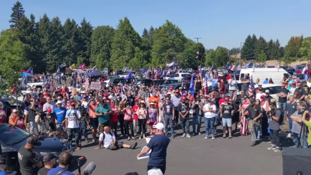 far-right demonstrators rallied in support of president trump on september 7, 2020 in clackamas, oregon. a pro-trump caravan drove into salem, the... - oregon state capitol stock videos & royalty-free footage