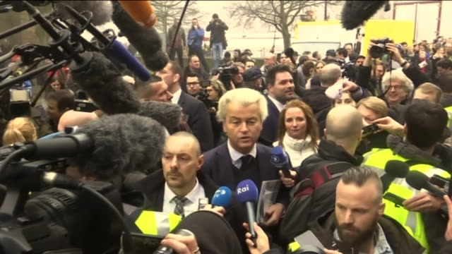 farright dutch politician geert wilders saying there is a lot of moroccan scum in holland who make the streets unsafe during his campaign trail in... - the hague stock videos and b-roll footage