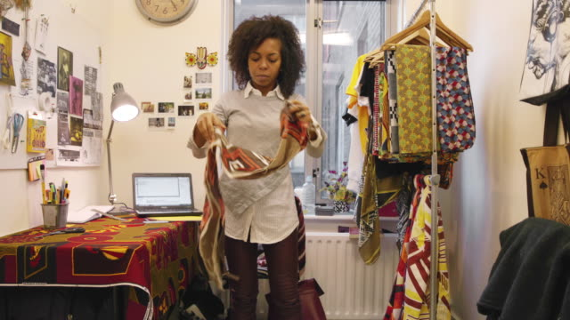 fashion designer at work in her studio - fashion designer stock videos and b-roll footage