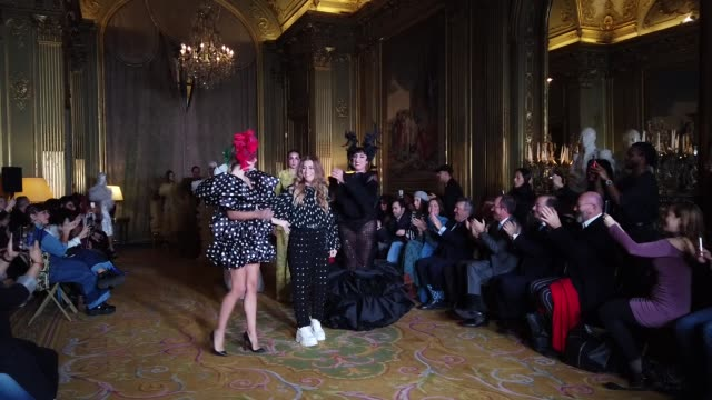 fashion designer juana martin and rossy de palma and models walk the runway after the juana martin haute couture spring/summer 2020 show as part of... - paris fashion week - haute couture spring/summer 2020点の映像素材/bロール