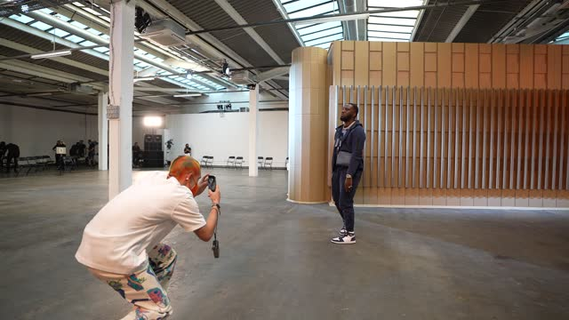 fashion designer reunben selby takes a picture of singer headie one during rehearsals during the reuben selby show during london fashion week june... - photographing stock videos & royalty-free footage