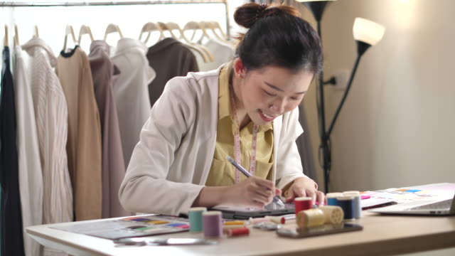 fashion designer studio at home - matching outfits stock videos & royalty-free footage