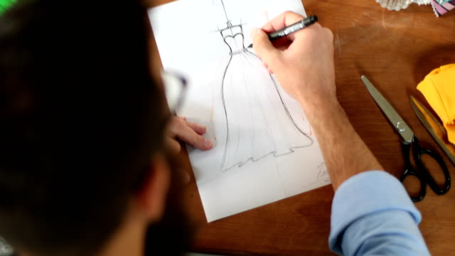 fashion designer - pencil drawing stock videos & royalty-free footage