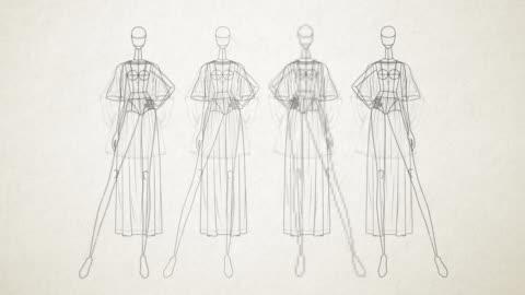 fashion doll - semplice - animazione di uno stand di vestiti manichino - sfilata di moda video stock e b–roll
