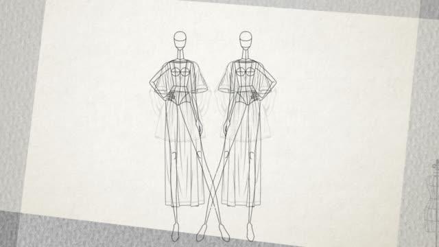 ファッションドール - シンプル - マネキン服スタンドのアニメーション - ファッションショー点の映像素材/bロール