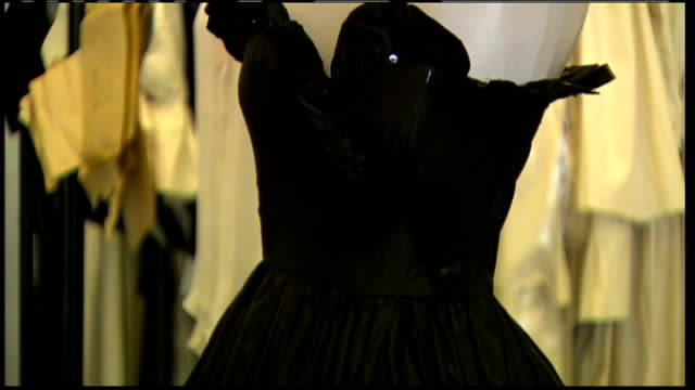 dress worn by princess diana on sale at auction; black dress on display - black dress stock videos & royalty-free footage
