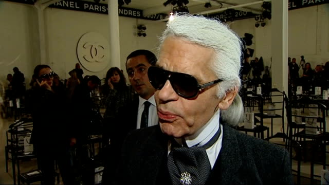 first chanel fashion show in london karl lagerfeld interview sot talks of connection between london and chanel - 2007 stock-videos und b-roll-filmmaterial