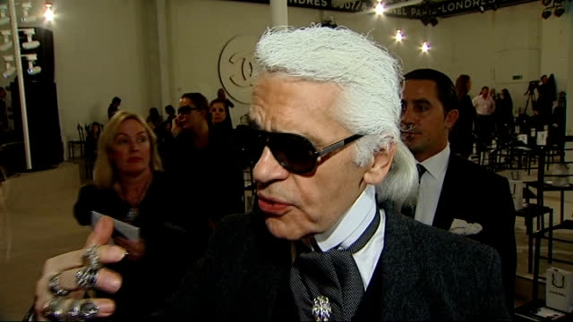 first chanel fashion show in london karl lagerfeld interview sot says traditions must evolve - 2007 stock-videos und b-roll-filmmaterial