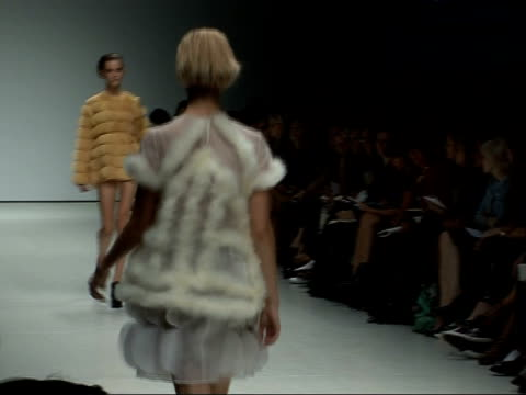 london fashion week 2008: christopher kane collection; models along catwalk in a line sot - fashion collection stock videos & royalty-free footage