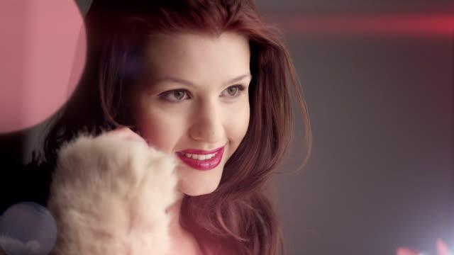 Fashion Model Girl in white fur