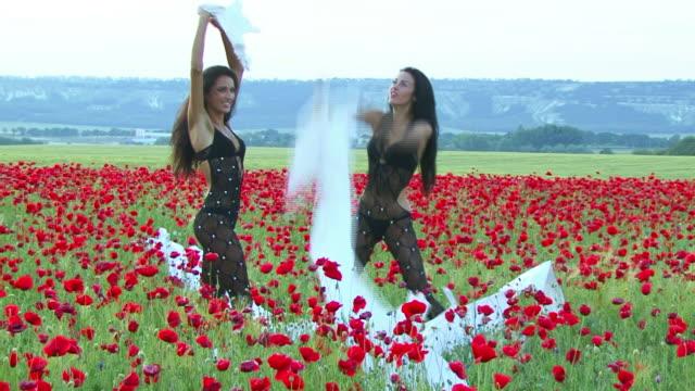 Fashion Model on Poppy Field