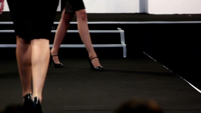 Fashion Models on Catwalk Runway, Close up
