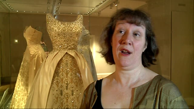 'fashion rules' exhibition: gvs dresses and interview with curator; marschner interview sot - curator stock videos & royalty-free footage