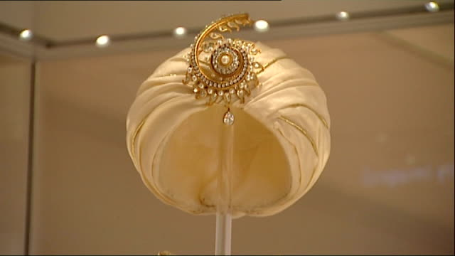 'fashion rules' exhibition outfit worn by princess margaret with gold turban and gold braiding trim - turban stock videos & royalty-free footage