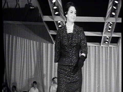 Fashion show in USSR fashion from Netherlands Jazz band on stage in background / Russia AUDIO