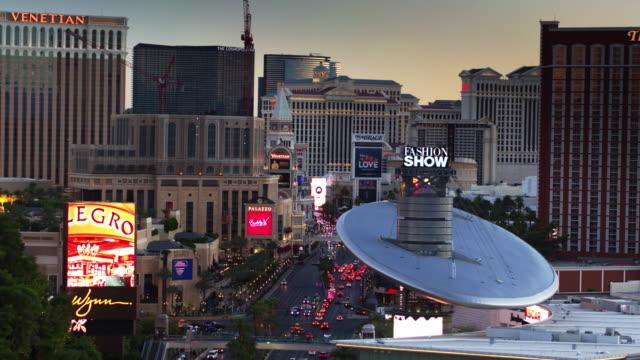 fashion show mall and surrounding casinos, las vegas - drone shot - female likeness stock videos & royalty-free footage