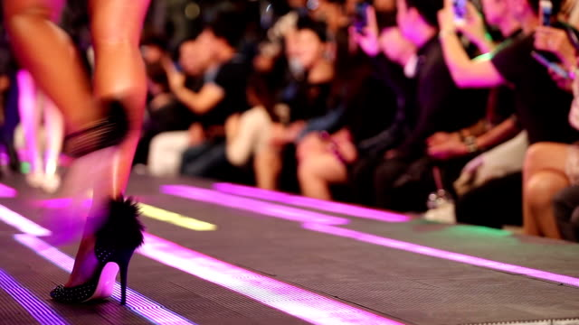 fashion show on led floor which has super model present shoes high heels - runway stock videos & royalty-free footage