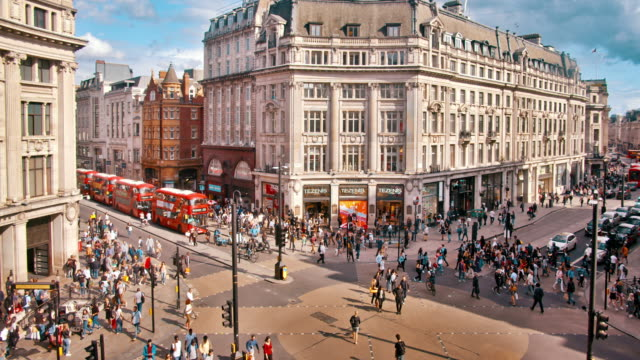 fashion street, aerial view, famous place, crossroad. london - editorial stock videos & royalty-free footage
