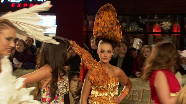fashion stunt at 'the hobbit' uk premiere and royal film performance at odeon leicester square on december 12, 2012 in london, england. - the hobbit stock videos & royalty-free footage