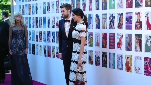 vogue 100 gala dinner claudia schiffer on red carpet / jack whitehall and gemma chan on red carpet / joan collins interview sot / lily donaldson on... - dahl stock videos and b-roll footage