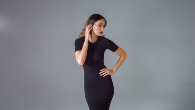 fashion woman posing for he camera - dress stock videos and b-roll footage