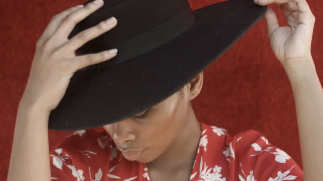 fashionable african-american woman wears hat, close up - hat stock videos & royalty-free footage